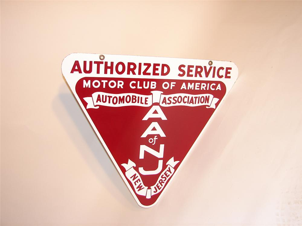 Unusual 1940s Automobile Association of New Jersey dbl-sided porcelain garage sign. - Front 3/4 - 66560