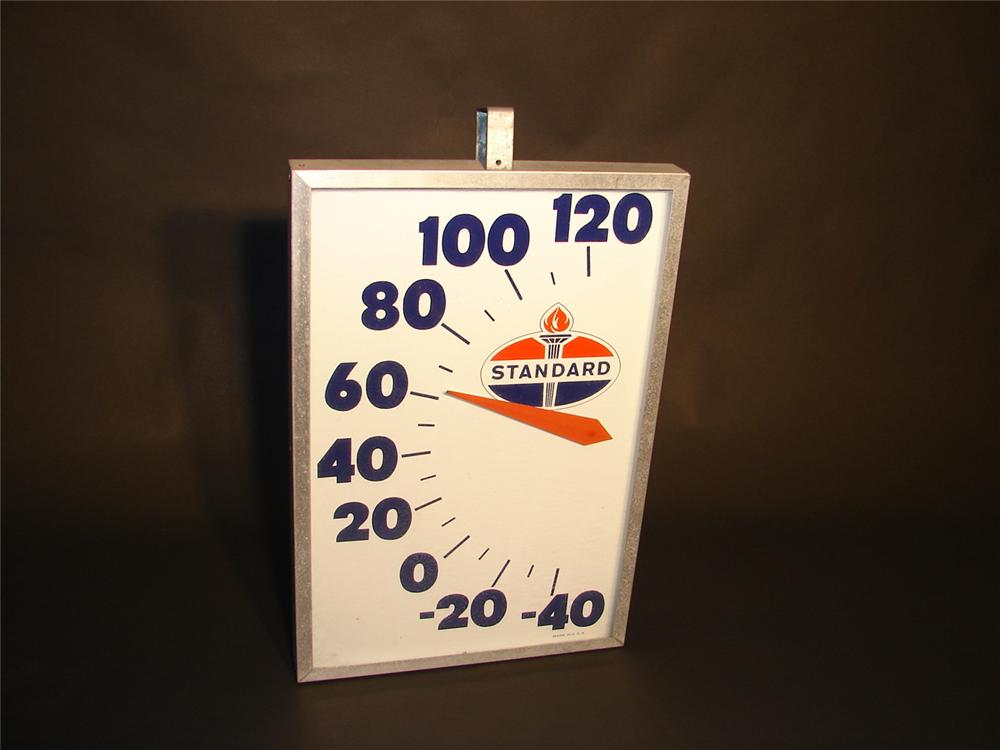 Choice over-sized Standard Oil glass faced station dial thermometer. - Front 3/4 - 66563