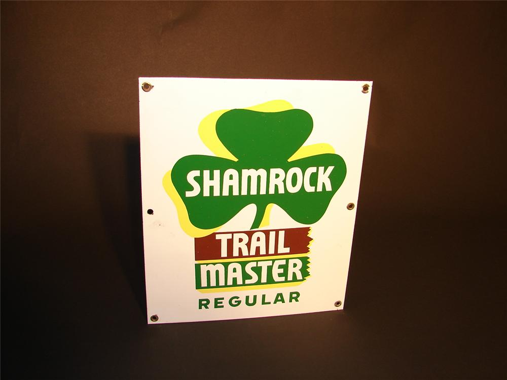 Unusual N.O.S. 1950s Shamrock Trail Master Regular porcelain pump plate. - Front 3/4 - 66564