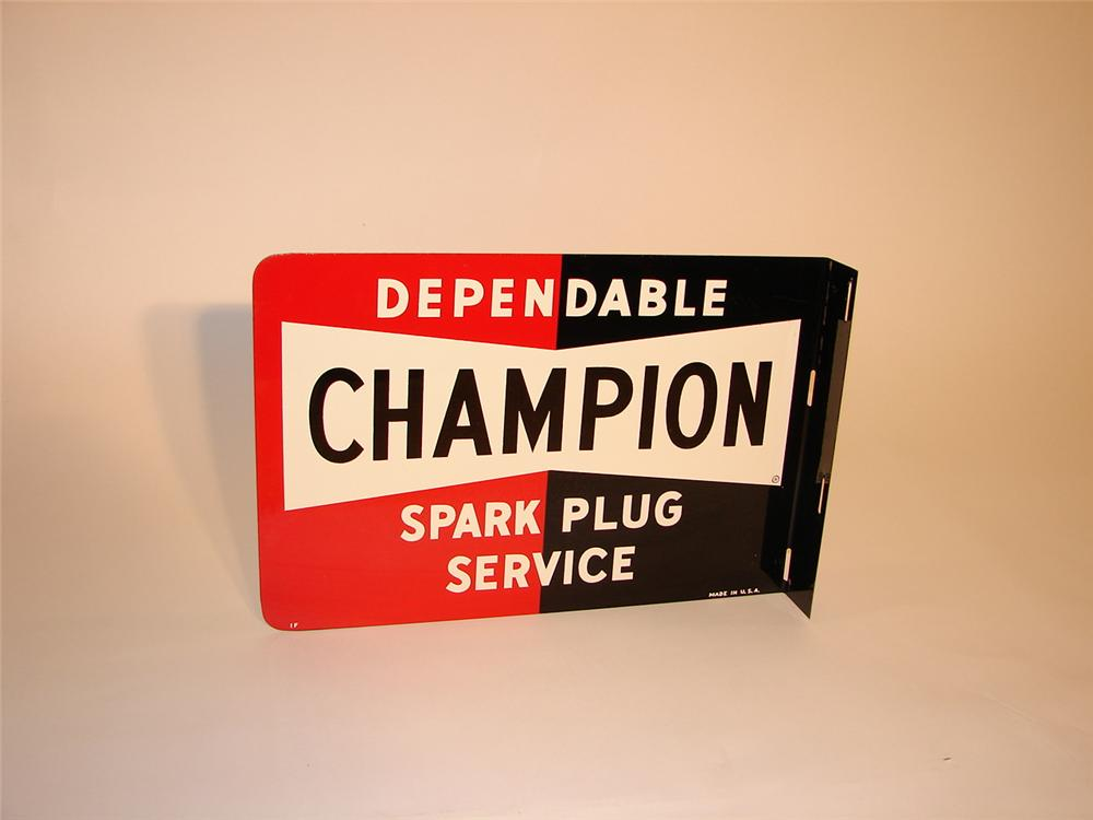 N.O.S. 1950s Champion Spark Plugs single-sided tin garage flange. - Front 3/4 - 66565