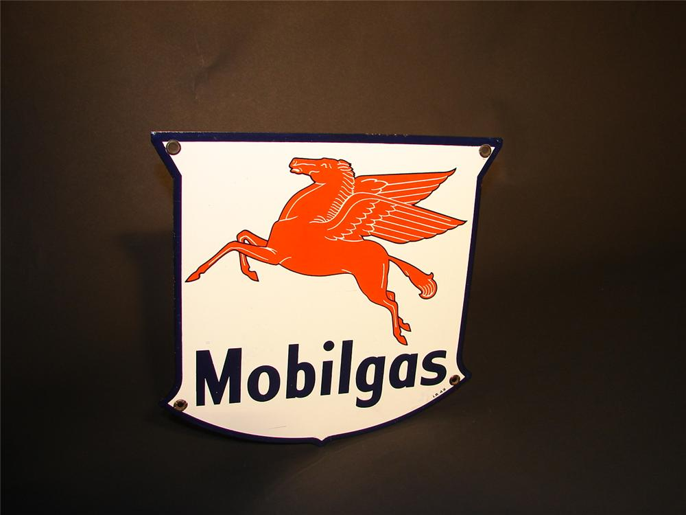 Sharp 1949 Mobilgas porcelain pump plate sign with Pegasus logo. - Front 3/4 - 66567