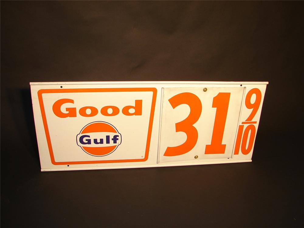 Fun N.O.S. early 1960s Good Gulf single-sided tin station price marker sign. - Front 3/4 - 66568