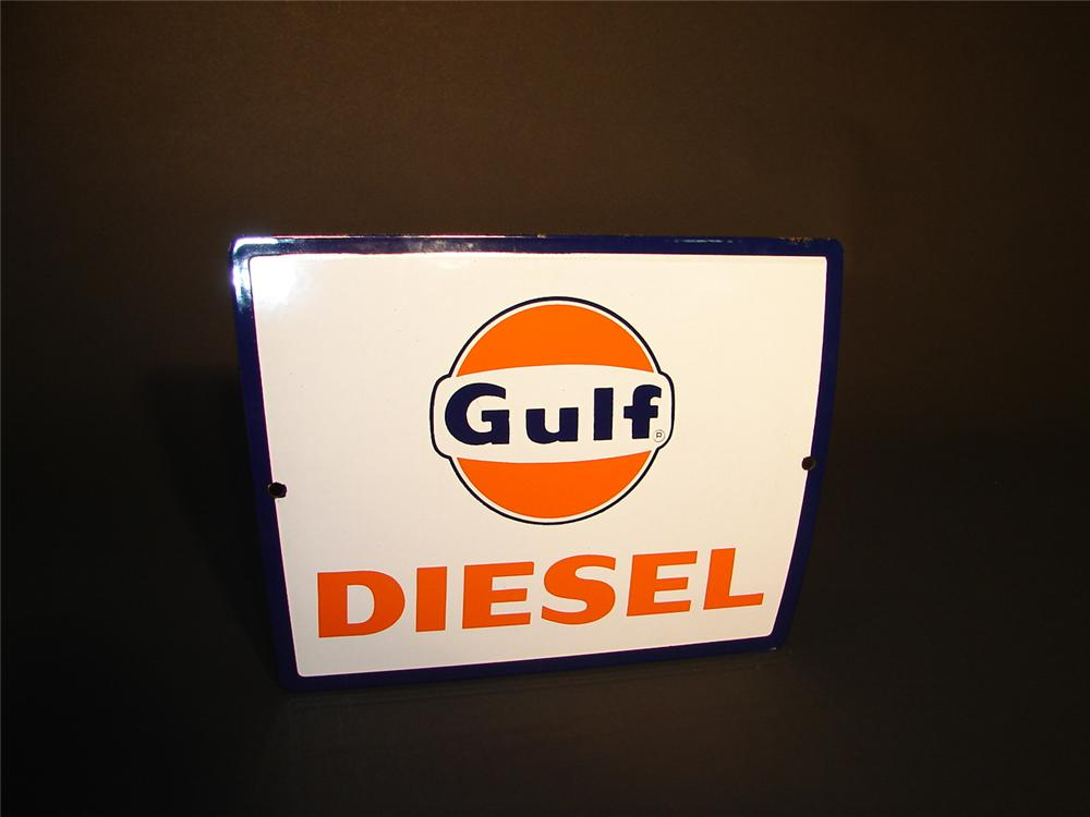 Rare N.O.S. Early 1960s Gulf Diesel single-sided porcelain dealership sign. - Front 3/4 - 66570
