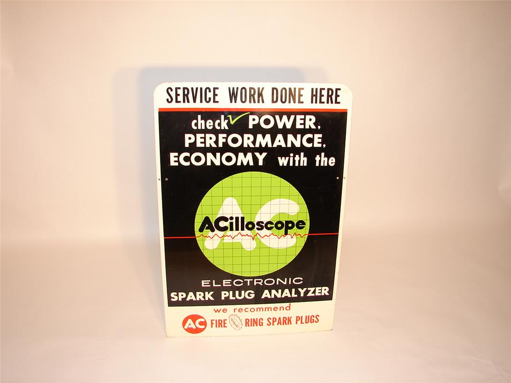 "Neat 1960s AC ""Acilloscope"" Spark Plug Analyzer dbl-sided tin garage sign. - Front 3/4 - 66571"