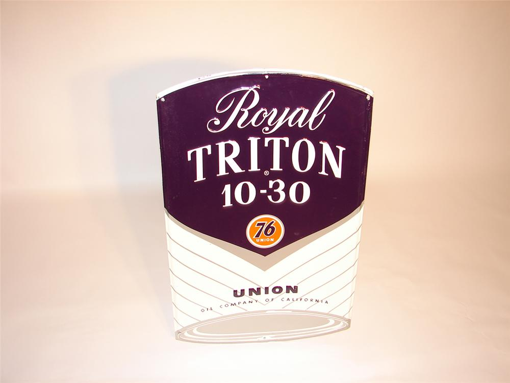 N.O.S. 1950s Union 76 Royal Triton Motor Oil can-shaped die-cut tin garage sign. - Front 3/4 - 66572