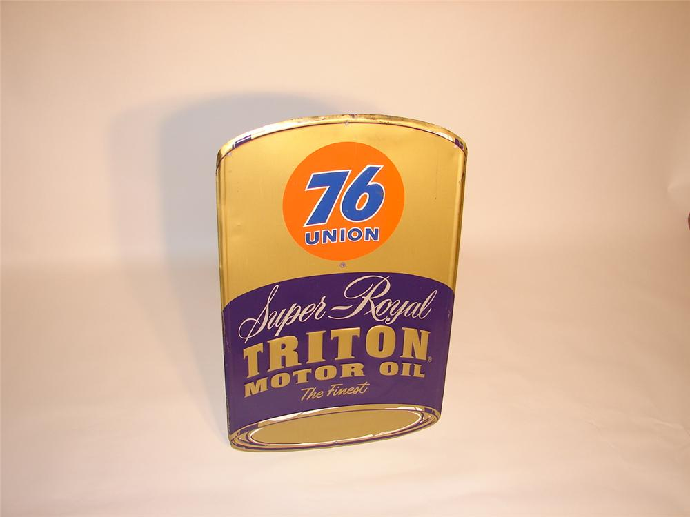Late 50s-early 60s Union 76 Super Royal Triton Motor Oil can-shaped tin garage sign. - Front 3/4 - 66573