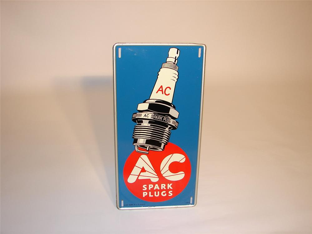 N.O.S. 1941 AC Spark Plugs self-framed tin garage sign. - Front 3/4 - 66574