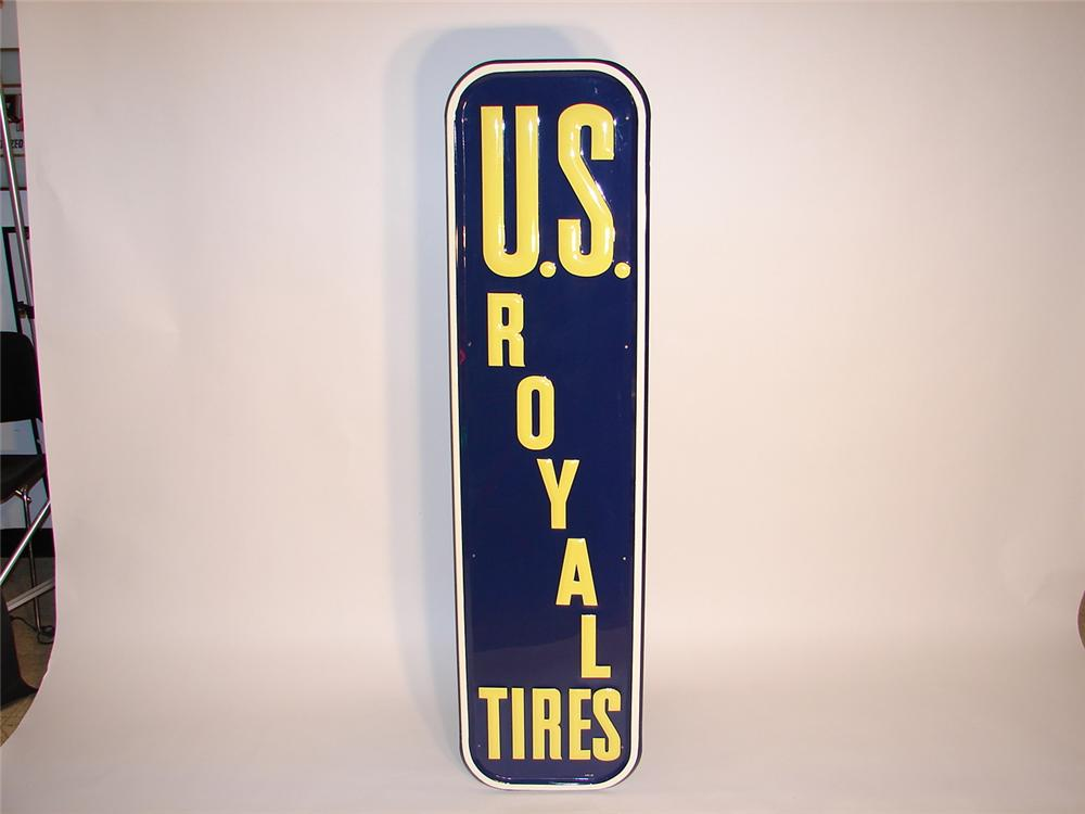 Gorgeous N.O.S. 1949 U.S. Royal Tires single-sided tin embossed garage sign. - Front 3/4 - 66578