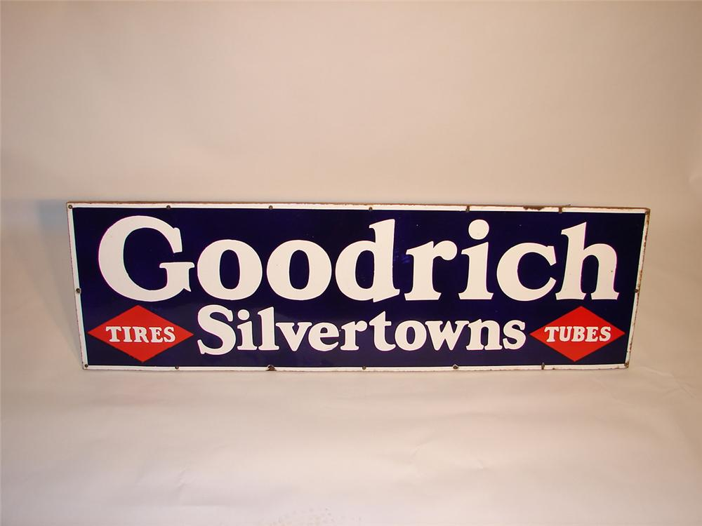 Choice 1930s Goodrich Silvertowns single-sided porcelain garage sign. - Front 3/4 - 66580