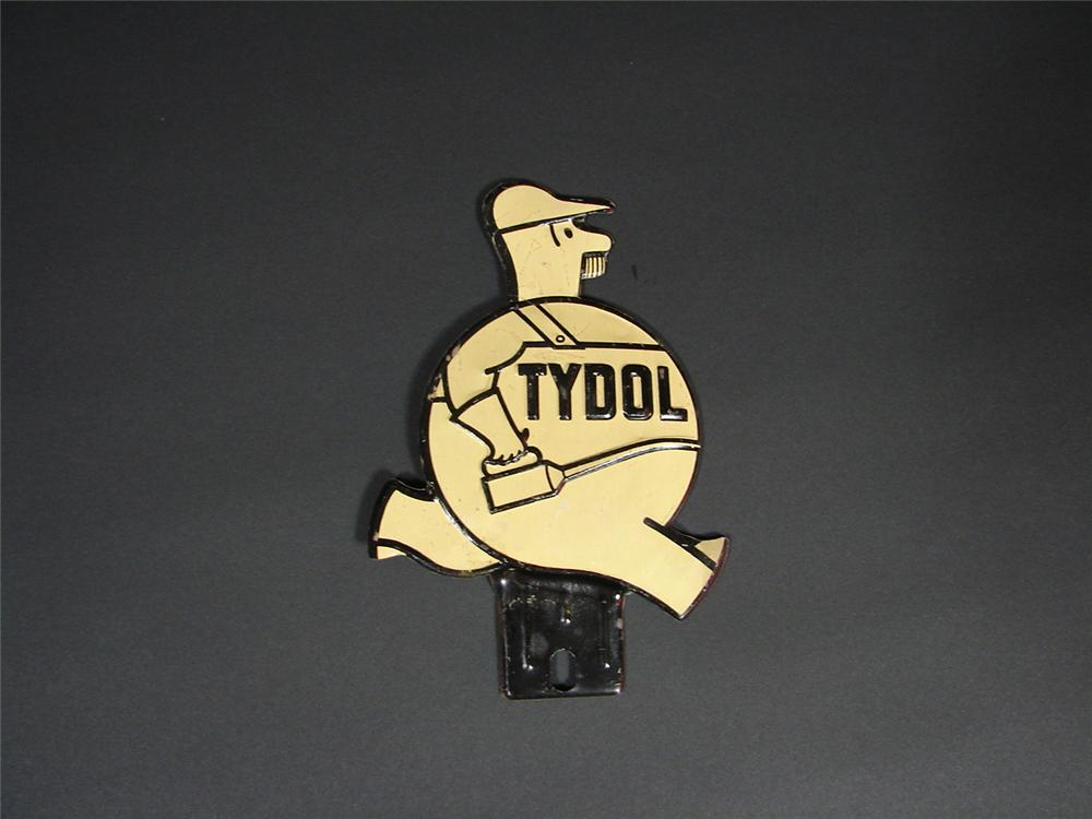 N.O.S. 1930s Tydol Gasoline license plate attachment sign. - Front 3/4 - 66818