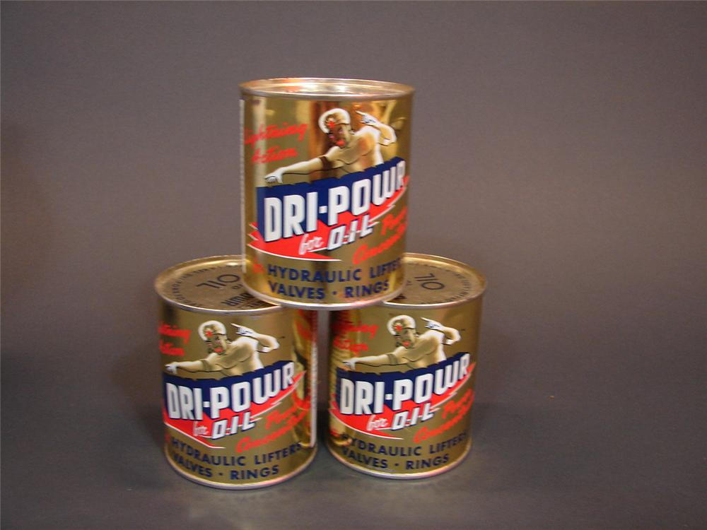 Lot of three N.O.S. 1950s-60s- Dri-Powr Oil Additive tins with geni graphic.  Unused and still full! - Front 3/4 - 66819