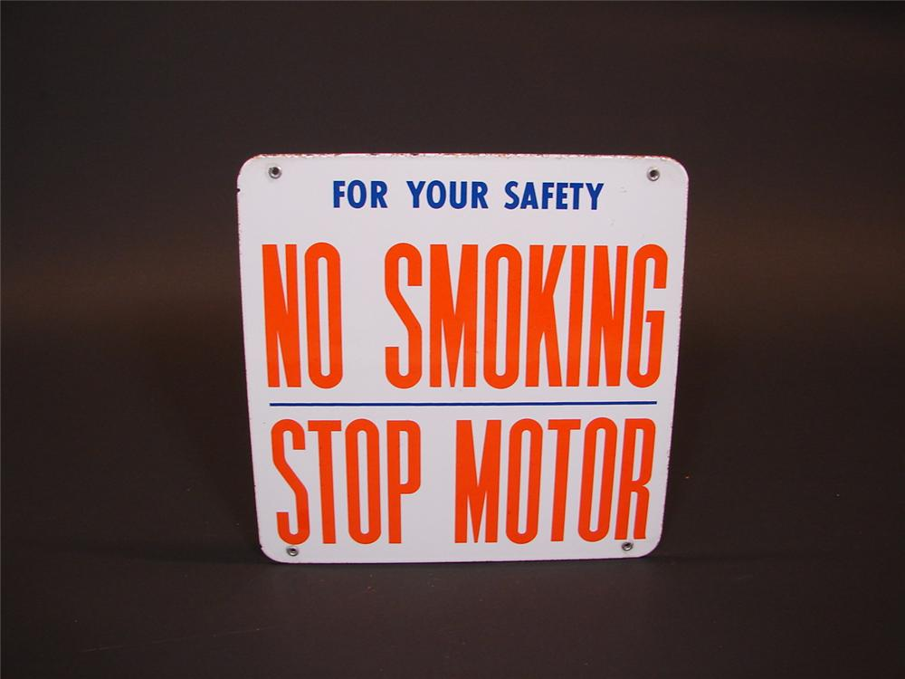 "1950s Union 76 ""No Smoking - Stop Motor""  porcelain fuel island sign. - Front 3/4 - 66833"