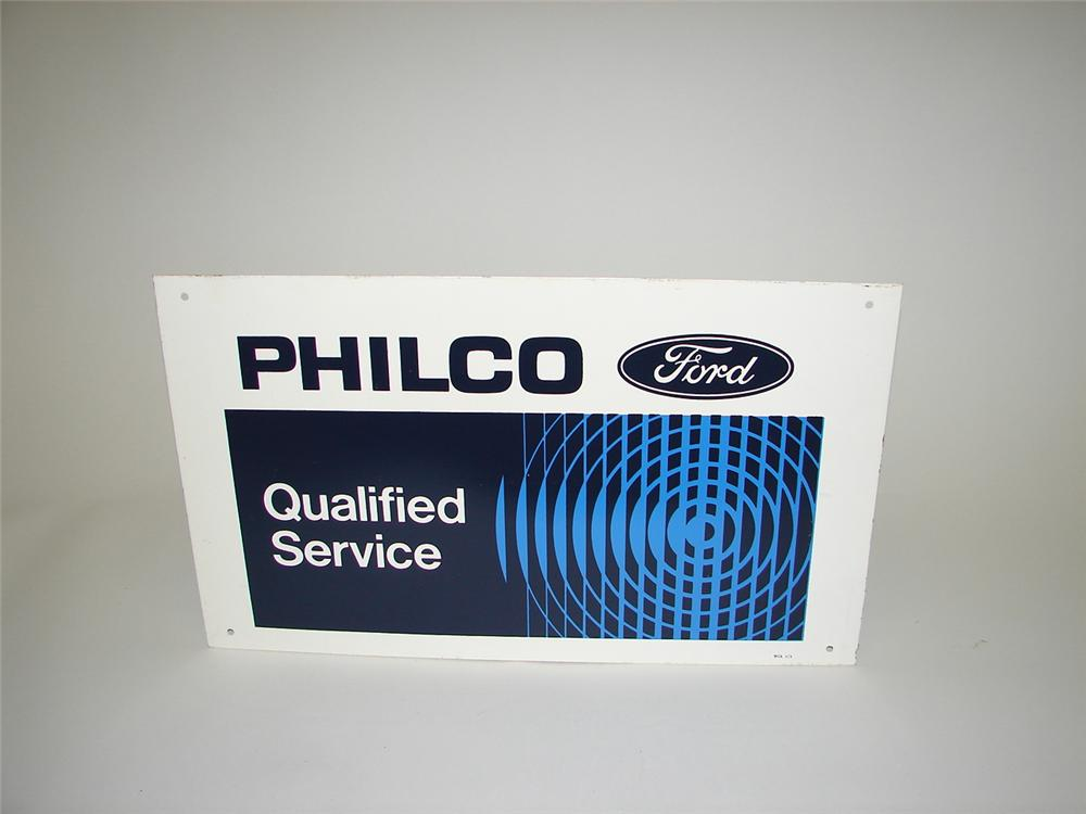 Seldom seen N.O.S. late 60s Ford Philco Service dbl-sided tin dealership sign. - Front 3/4 - 66844