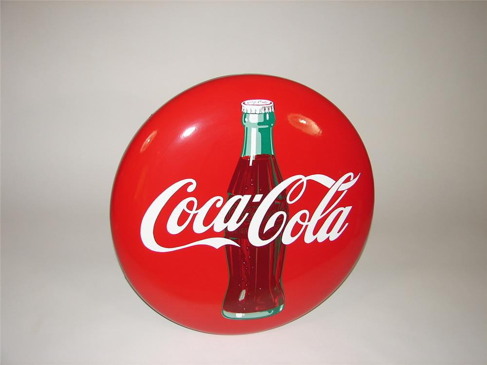"""Very desirable N.O.S. 1950s Coca-Cola 24"""" porcelain button sign with bottle graphic. - Front 3/4 - 66850"""