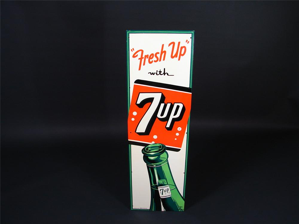 N.O.S. 1954 Fresh-Up with 7up embossed tin sign with bottle graphic. - Front 3/4 - 66852