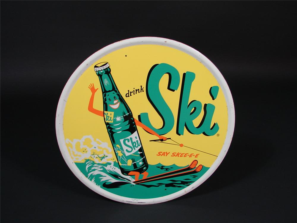 Rare 1959 Ski Soda die-cut tin embossed sign with adorable ski motif. Just a few minor edge imperfections. - Front 3/4 - 66853
