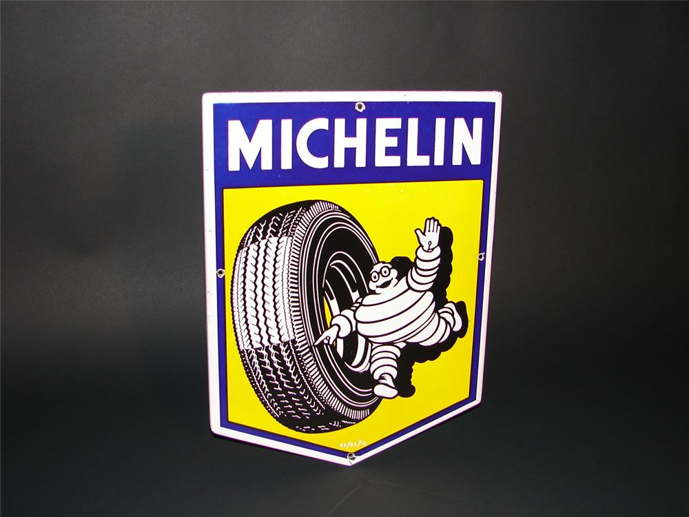 Beautiful late 50s-early 60s Michelin Tires single-sided porcelain garage sign featuring Bibedum. - Front 3/4 - 66854