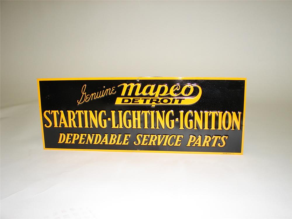 "Stunning 1948 N.O.S. Mapco ""Starting-Lighting-Ignition Parts"" single-sided tin sign. - Front 3/4 - 66855"