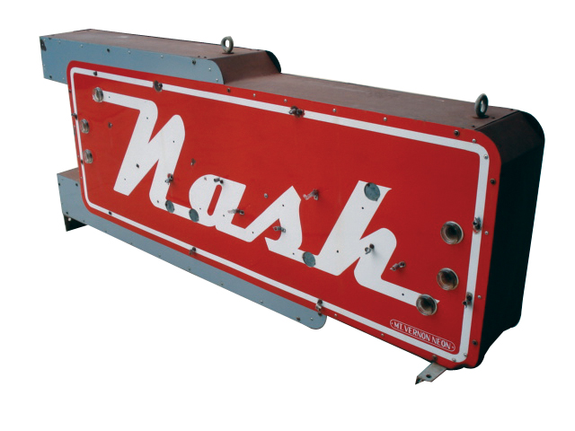 Outstanding 1940s-50s Nash Automobiles double-sided porcelain neon dealership sign. - Front 3/4 - 66860