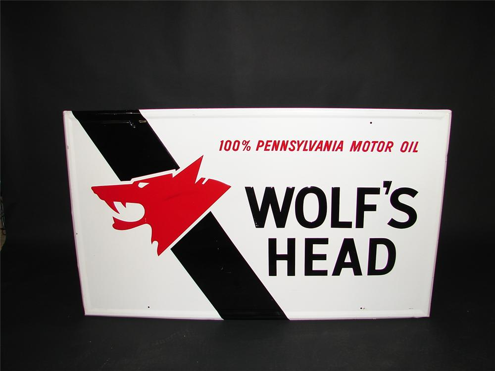 Wolfs Head Motor Oil sign - Front 3/4 - 67086