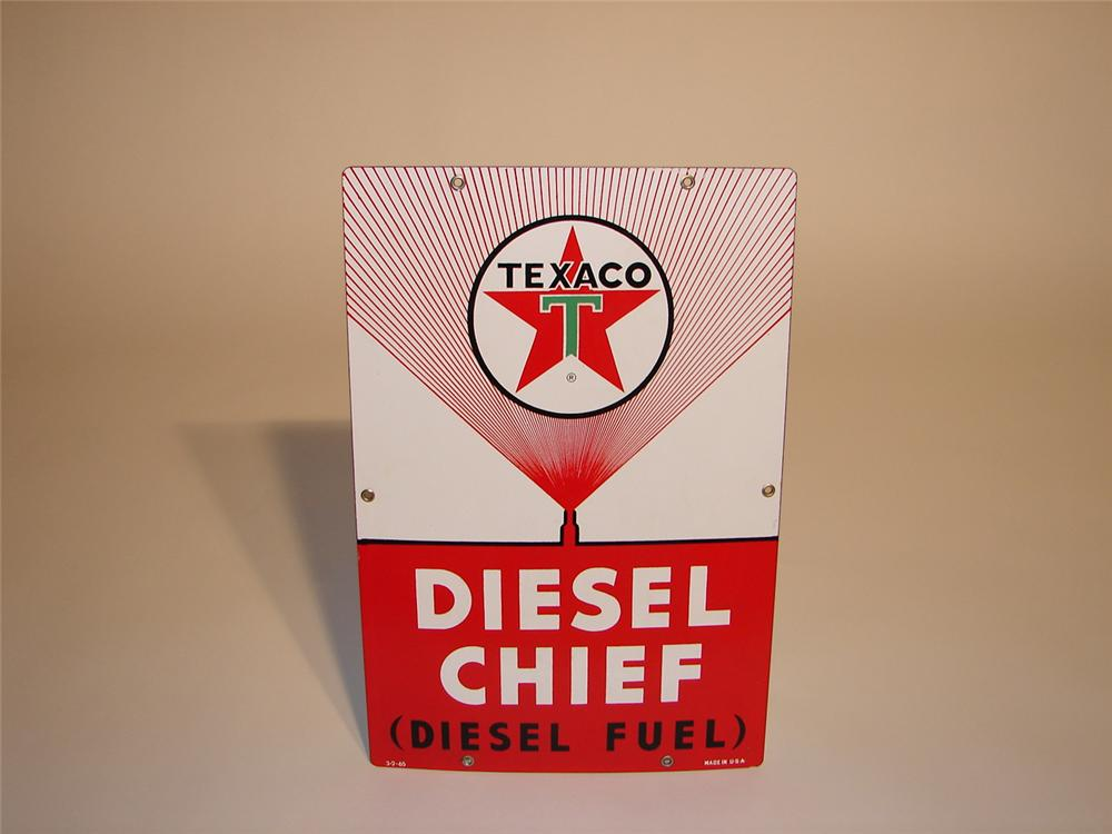 Texaco Diesel Chief porcelain pump plate sign - Front 3/4 - 67095