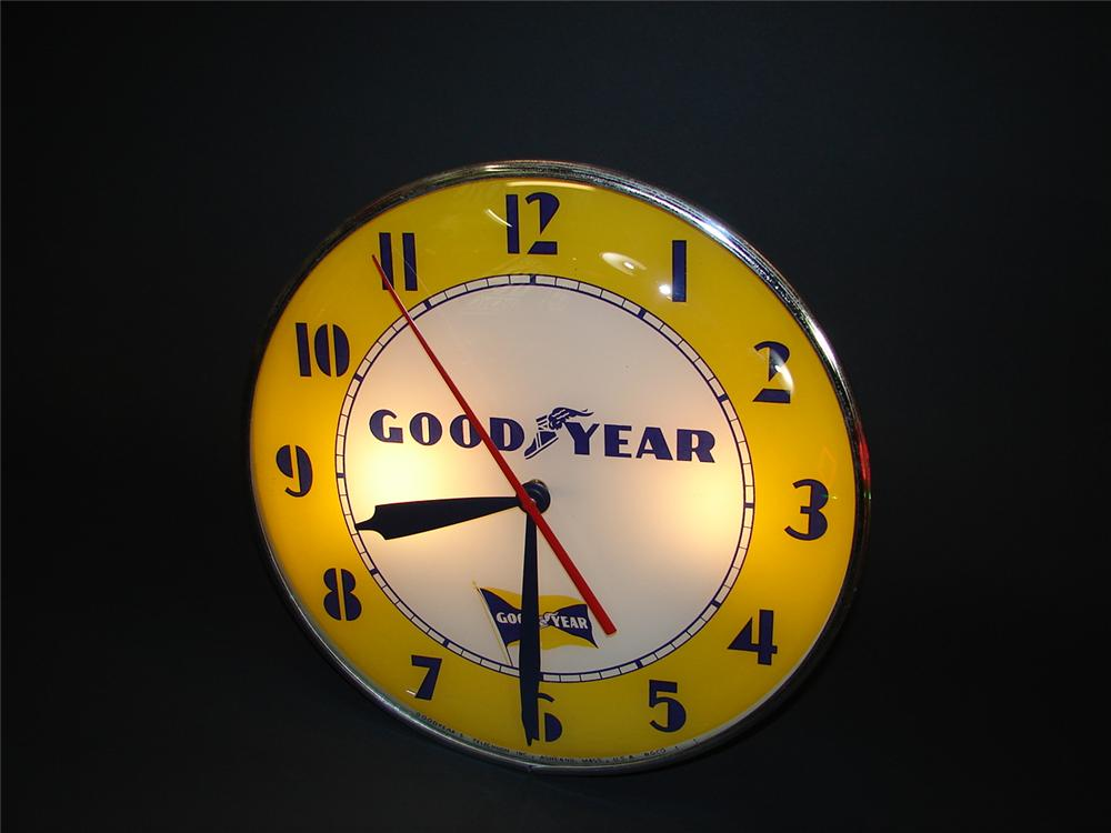 Goodyear Tires glass faced garage clock - Front 3/4 - 67106