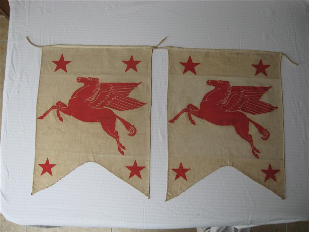 Lot of two 1940s Mobil Station cloth banners. - Front 3/4 - 67261