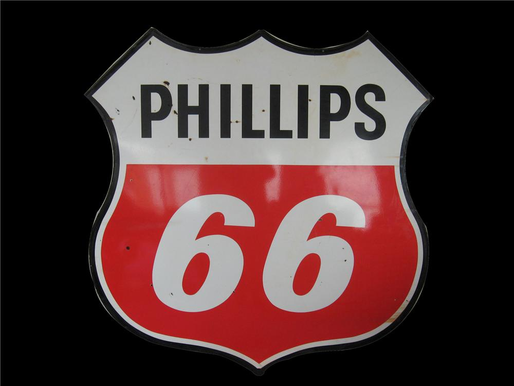 Large 1960s Phillips 66 double-sided porcelain shield shaped station sign. - Front 3/4 - 67266