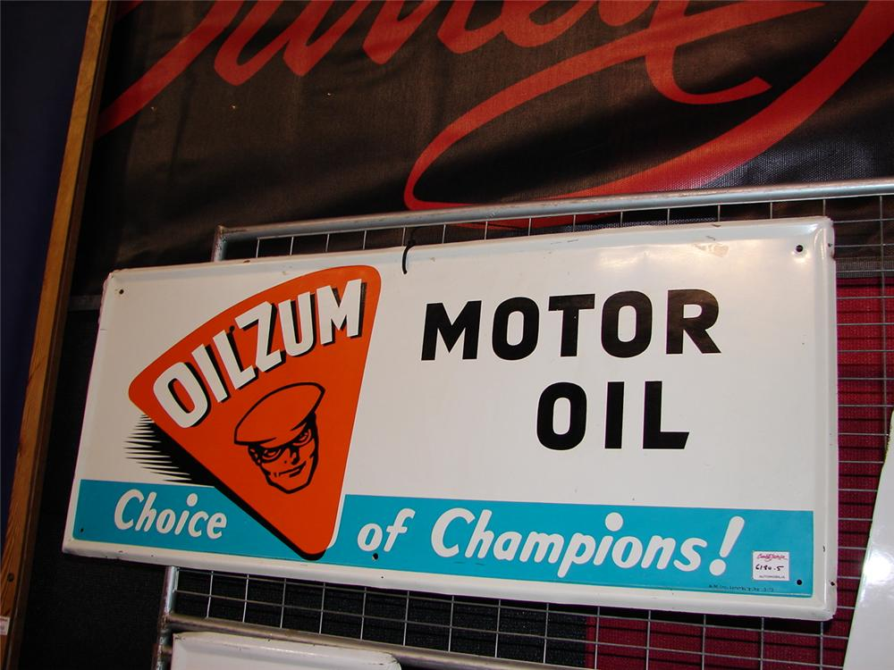 "Scarce Oilzum Motor Oil ""Choice of Champions"" single-sided tin garage sign. - Front 3/4 - 67284"