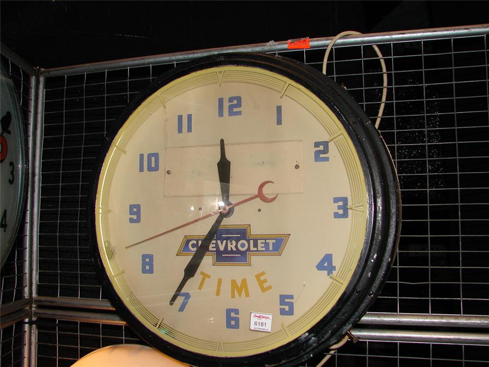 Highly desirable 1940s Chevrolet Time neon dealership clock. - Front 3/4 - 67286