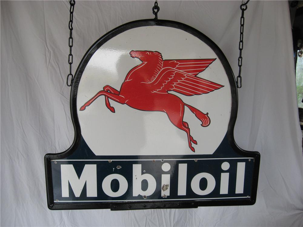1940s Mobil Oil double-sided porcelain service station sign with Pegasus graphic. - Front 3/4 - 67289