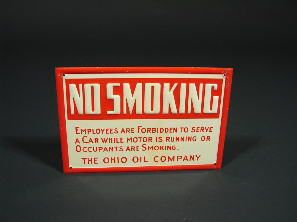 "N.O.S. 1930s Ohio Oil Company ""No Smoking"" tin painted station island sign. - Front 3/4 - 68533"