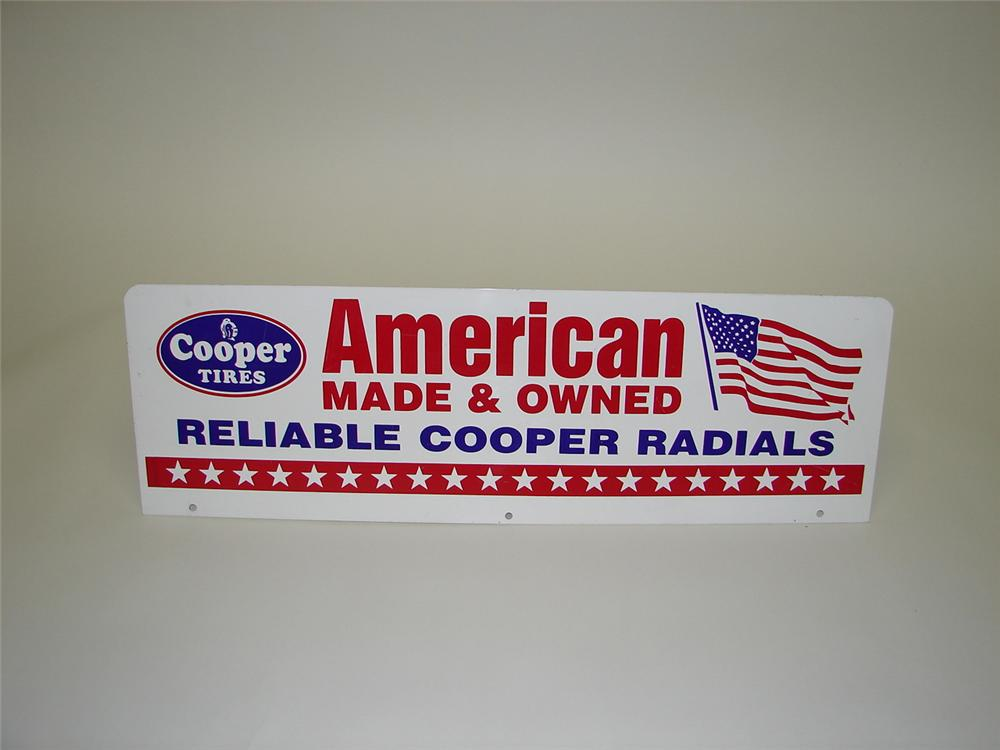 Patriotic late 50s-60s Cooper American Tires double-sided tin garage sign. - Front 3/4 - 68613