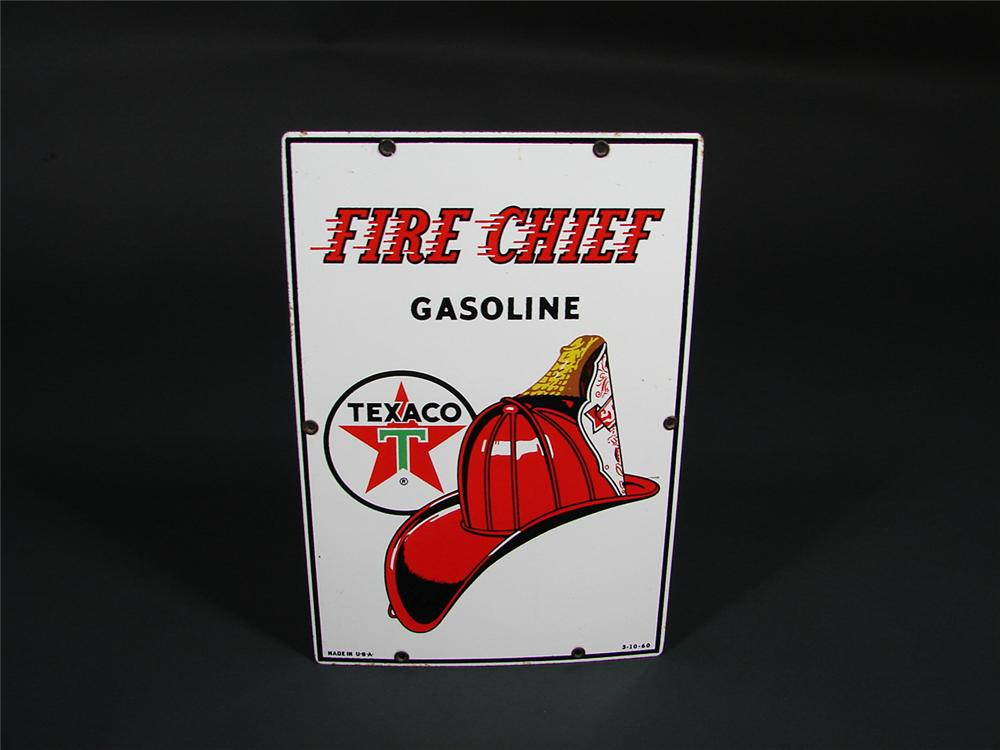 Very clean 1960 Texaco Fire Chief porcelain pump plate sign. - Front 3/4 - 68813