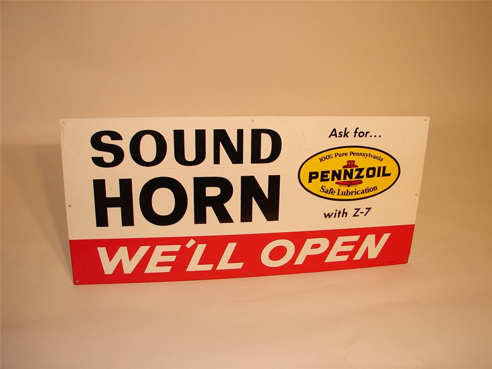 "N.O.S. 1965 Pennzoil ""Sound Horn"" Service Department single-sided tin garage sign. - Front 3/4 - 68834"