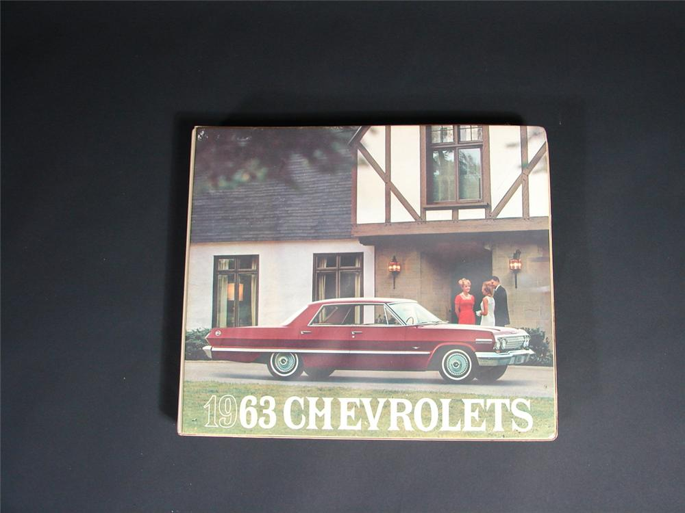 Choice 1963 Chevrolet showroom sales dealer book. - Front 3/4 - 68875