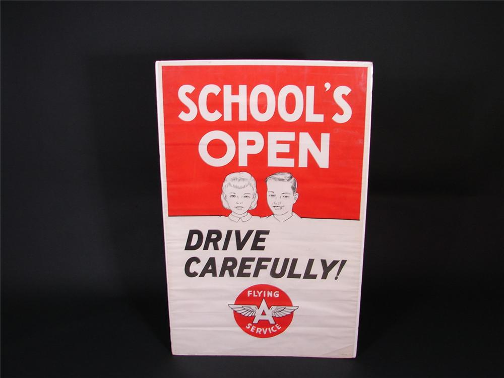 "N.O.S. 1950s Flying A Service ""Schools Open"" station poster. - Front 3/4 - 68876"
