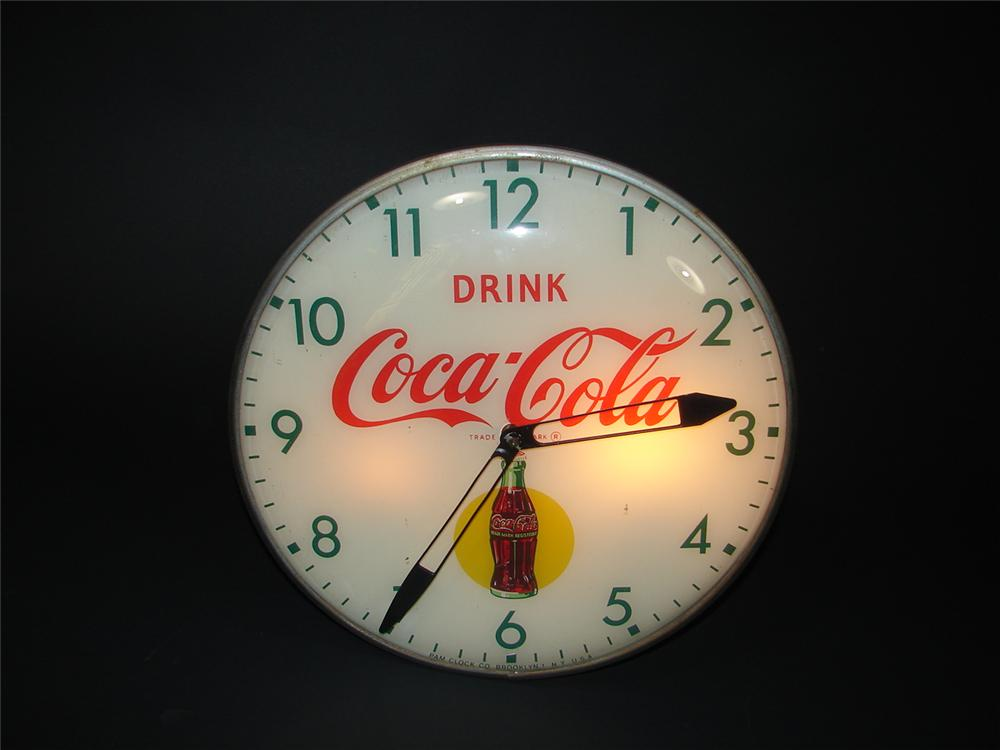 Awesome 1950s Coca-Cola glass faced light-up soda fountain clock. - Front 3/4 - 68894