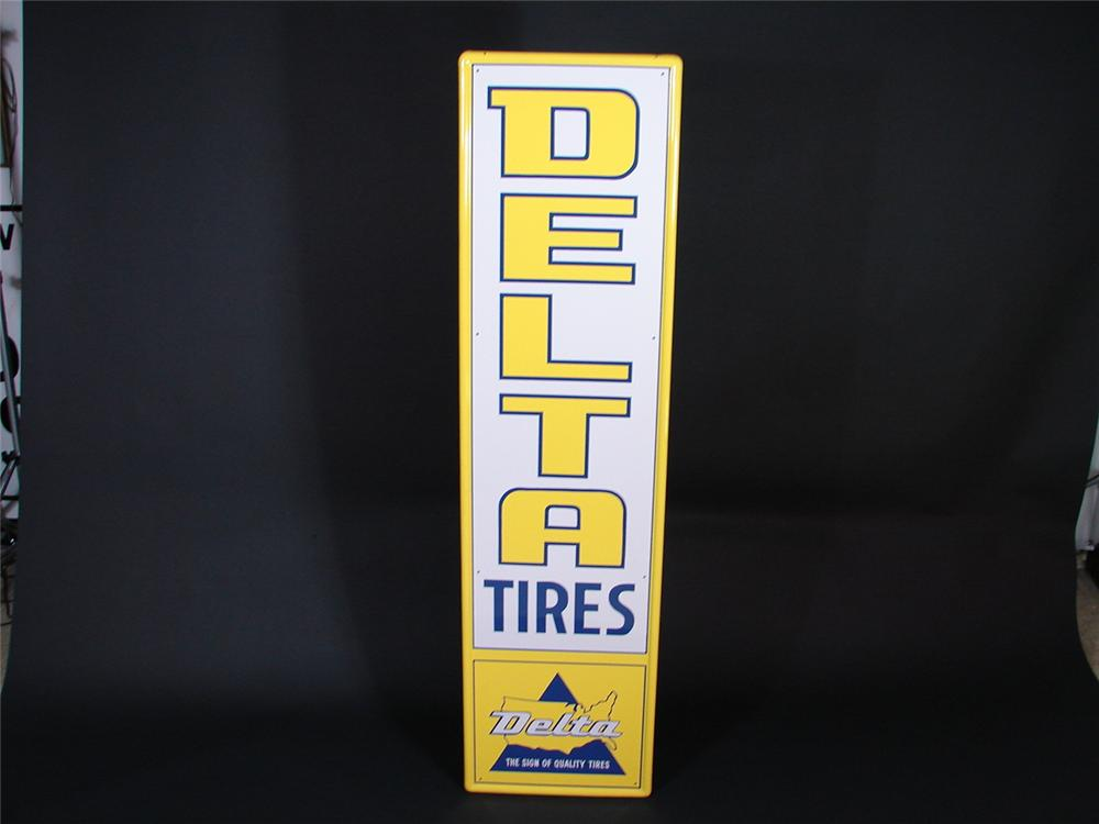 Flawless N.O.S. 1960s Delta Tires vertical tin garage sign. - Front 3/4 - 69093