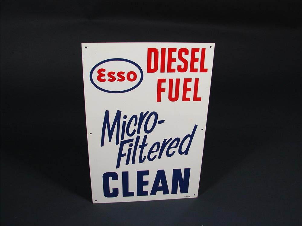 N.O.S. 1962 Esso Diesel Fuel tin painted pump plate sign. - Front 3/4 - 69173