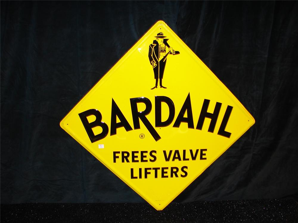 Spectacular N.O.S. late 50s-60s Bardahl engine treatment embossed garage sign. - Front 3/4 - 69233