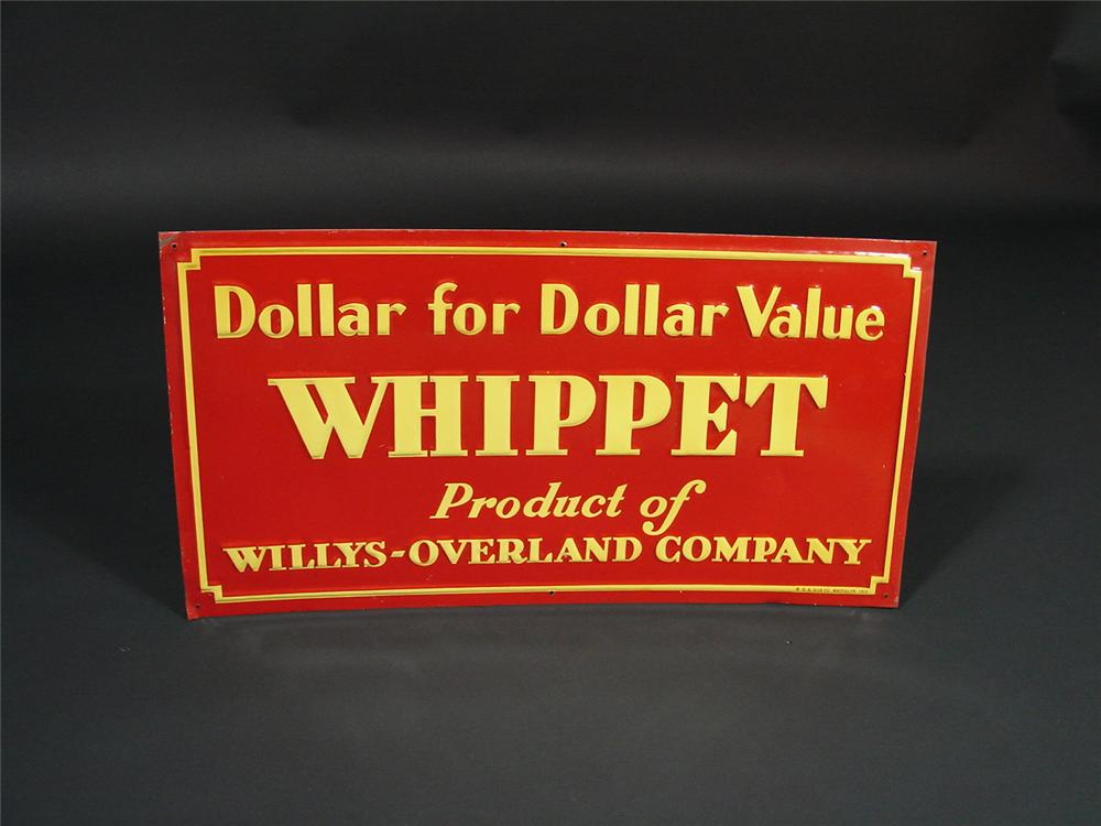 "N.O.S. 1930s Willys-Overland ""Whippet"" tin dealership sign.  Found with the original wax paper still attached. - Front 3/4 - 69273"
