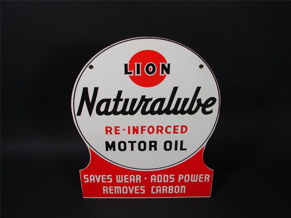 Magnificent N.O.S. Lion Naturalube double-sided die-cut tin station sign.  Pulled out of the original shipping box. - Front 3/4 - 69334