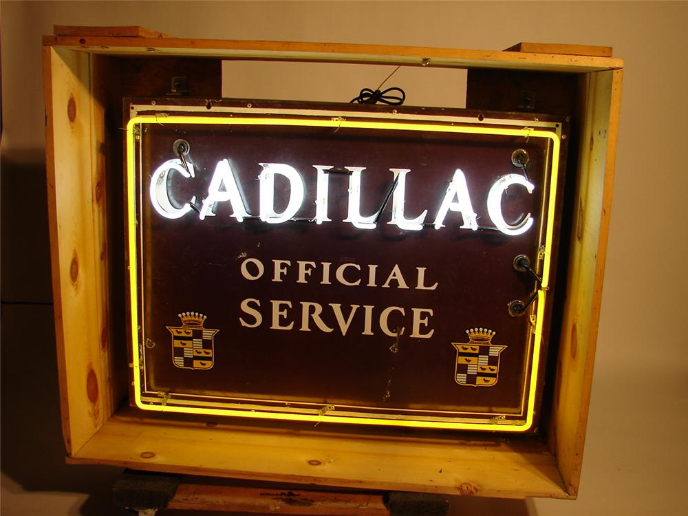 Very Rare 1930s Cadillac single-sided porcelain dealership sign with neon.  The chairman of the board of signs. - Front 3/4 - 69613
