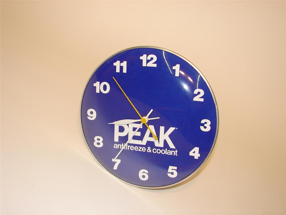 Late 60s-early 70s Peak Anti-Freeze glass faced clock. - Front 3/4 - 70294