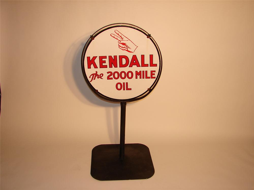 Desirable 1930s Kendall Motor Oil dbl-sided porcelain garage curb sign. - Front 3/4 - 70311