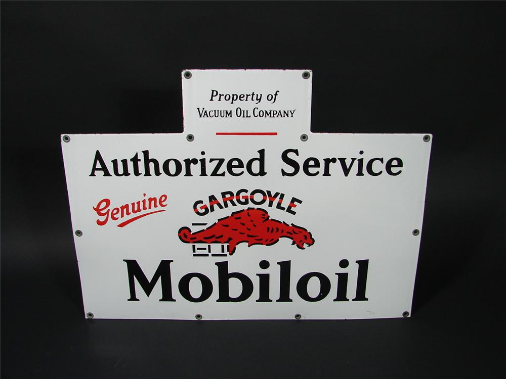 Outstanding 1930s Gargoyle Mobil-Oil single-sided porcelain service station sign. - Front 3/4 - 70313