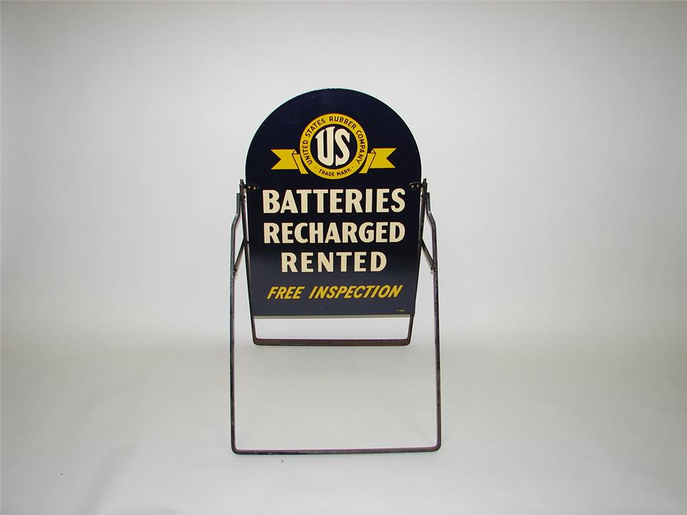 "Extremely rare N.O.S. 1930s-40s  U.S. Tire ""Batteries"" dbl-sided tin curb sign with original box - Front 3/4 - 70314"