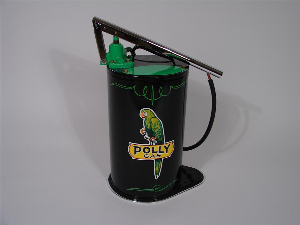 Exquisite 1940s Polly five gallon hand pump transmission greaser. - Front 3/4 - 70318