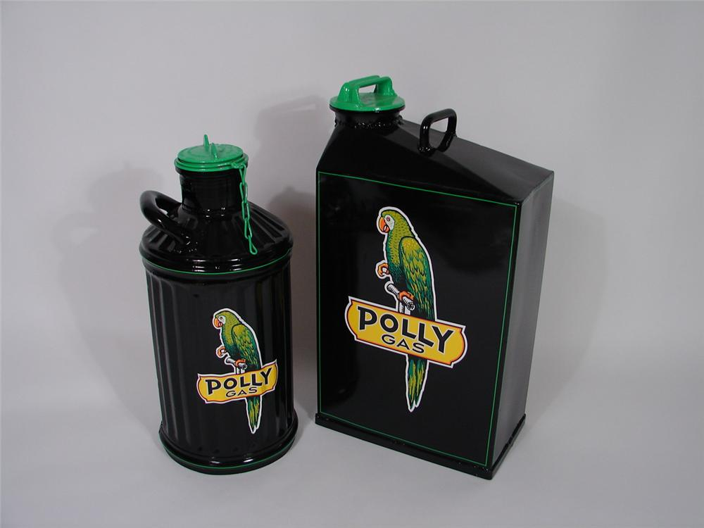 Lot of two 1930s Polly Gasoline restored service station oil cans. - Front 3/4 - 70320